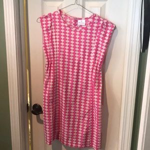 Cute pink and white summer cotton dress